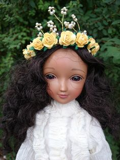 flower crown for bjd MSD SD wig 7-8 by milklegs on Etsy