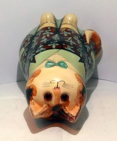 """A lovely Joan and David De Bethel cat in very good/ excellent condition and is just over 7"""" high. Caption on the back states """" A hard beginning maketh a good ending"""" and is marked on the bottom with the date 1978 and states made for Herbert Johnson, a hatter of London. Maneki Neko, Caption, David, Clay, London, Vintage, Fimo, Clays, Captions"""
