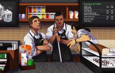 "Altair, Connor, and Ezio working at Starbucks. ""Fanart-assassins creed-Altair-altair ibn-la'ahad-ezio auditore-asscreed-Connor Kenway-assassins creed art"" by gryzetch on rebloggy.com."