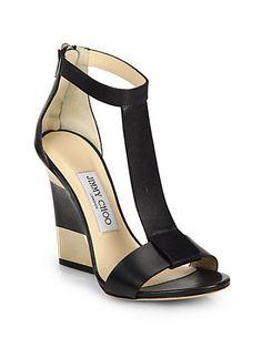 Jimmy Choo - Leather T-Strap Platform Wedge Sandals - Resort 2015 (=)