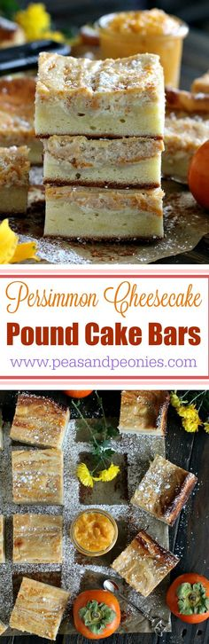 Persimmon Cheesecake Pound Cake Bars - Two classic desserts are combined into these creamy and flavorful persimmon cheesecake pound cake bars that make one decadent and irresistible dessert. Peas and Peonies