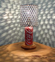 Coca Cola Soda Can Lamp with Pull Tab Lampshade - The Coca Cola Lover's Essential on Etsy, $37.00