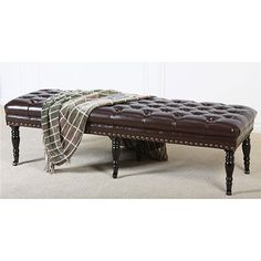 Hastings Brown Tufted Bonded Leather Ottoman Bench