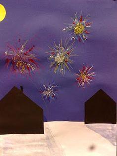 RAHULAN KOULUN KUVATAIDE: Uuden vuoden ilotulitus 3-4 lk New Year's Crafts, Fireworks, Elementary Schools, Art Lessons, Happy New Year, Seasons, Education, Winter, Kids