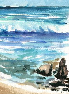 Beach and Lava Rocks Original Watercolor Painting from Kauai Hawaii blue teal turquoise aqua brownsand green on Etsy, 37,68 €