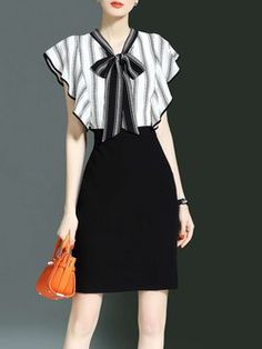 White Sheath Striped Ruffled Elegant Bow V Neck Work Dress