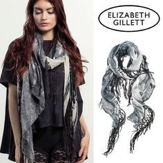 New for Fall at Notice: Elizabeth Gillett scarves that have a mixture of exclusive prints, hand-woven fabrics, artisan embellishments, novelty textures and metallic accents.