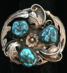 1970s OLD PAWN Signed Heavily Ornate Sterling bracelet w/turquoise stones