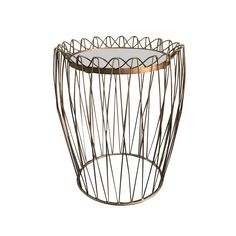 Wire Drum: Modern gold wire drum side table. Sundrop Vintage Rentals/ Rent Vintage Furniture in California for Weddings/ Parties/ Events/ Photo shoot/ Bridal Shower/ Sofa /Settee/ Vintage/ Boho/ Baby Shower/ Rentals