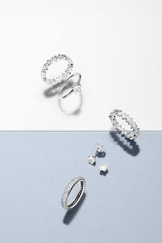 Sparkle like a star with PANDORA's twinkling star-cut sterling silver rings and earrings. #PANDORAring #PANDORAearrings
