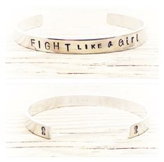 Fight Like a Girl  Personalised Bracelet  by GlamAndCoJewellery, £12.00  Endometriosis Bangle   #endo #fightlikeagirl