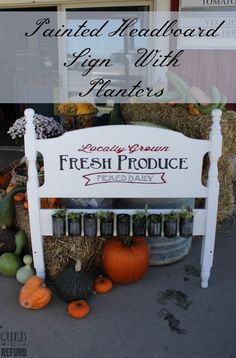 When a friend of mine asked me to give new life to her old headboard sign, I immediately said YES!  She owns a local produce stand, so figuring out what to pain…