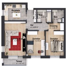 Apartamente noi Garsoniere, 2 camere si 3 camere la cheie: Casa Nobel 3d House Plans, Blessing Bags, Sims 4, Floor Plans, How To Plan, Room, Houses, Plants, Embroidery