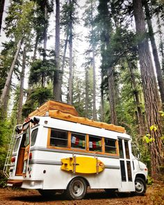West Coast inspired 1990 Chevy Van 30 short bus conversion with custom Red Cedar deck and interior. Road trips and hot springs missions in the Oregon Cascades. School Bus Tiny House, School Bus Camper, Bus House, Bus Life, Camper Life, Camper Van, School Bus Conversion, Camper Conversion, Motorhome