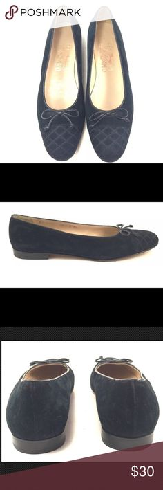 SALVATORE FERRAGAMO BLUE SUEDE BALLET FLAT SALVATORE FERRAGAMO NAVY BLUE SUEDE ROUND QUILTED TOE BALLET FLAT. Size 7 AAA Narrow. These are in very good preowned condition. Please see photos and feel free to ask questions. Thanks for looking! Salvatore Ferragamo Shoes Flats & Loafers