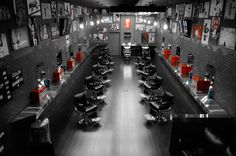 Barber shop, so manly. - would be cool for mafia theme wedding photos
