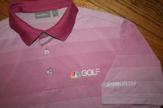 Ashworth NBC Golf Channel Polo Shirt Men's Medium, pink white stripe Sports New #Ashworth #PoloRugby