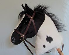 Hobby Horsing larger piebald hobby horse (stick horse) top quality with removable leather bridle. For older children and teenagers.