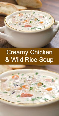 Creamy Chicken & Wild Rice Soup on stovetop.