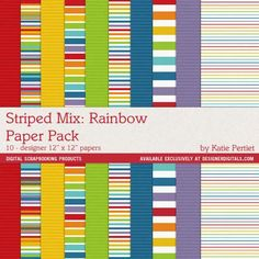 Striped Mix: Rainbow Paper Pack No. 01 - Digital Scrapbooking Papers
