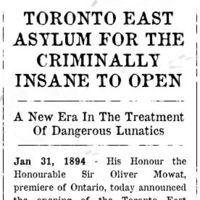 The Toronto East Asylum was a facility for the criminally insane located near Gerrard and Sumac...