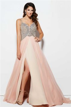A Line Sweetheart High Slit Long Blush Pink Chiffon Beaded Prom Dress With Straps