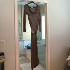 Belted maxi dress Worn once! Can be worn off the shoulder! Has side detail! Dresses Maxi