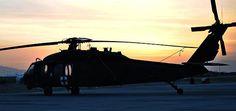 U.S. Army Blackhawk in a Northern Afghanistan Sunrise.