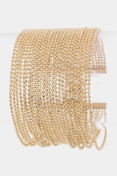 Glam Layered Beads Bracelet (Gold Tone) - $20