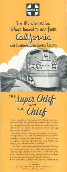 1941 Santa Fe Railroad Super Chief train photo vintage travel Print Ad.