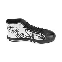 Music High Top Canvas Women's Shoes (Model017)(Large Size)