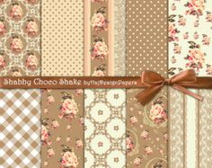 Brown digital paper : Brown Chic shabby chic by HajDesignPapers