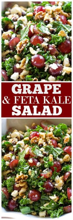 This Grape and Feta Kale Salad is a healthy sweet and salty salad. #healthy #recipe #salad the-girl-who-ate-everything.com