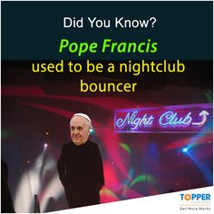 #DidYouKnow Pope Francis used to be a nightclub bouncer. #Facts #Pope