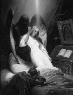 Angel of Death by Horace Vernet, 1851 (original painting in colour). S)