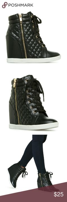 """Black Quilted Wedge Sneakers Beautiful pair of Black Wedge Sneakers with gold zipper closure and lace up front. Faux Leather Quilted Design. 1"""" Platform Height & 4"""" Outside Heel Height. Womens Size 10 - True to size. They are sold out on the website. These are not brand new, but I only wore them a couple times. I can no longer wear shoes with height to them, so they have just been sitting in the box. Last 2 photos are of the actual shoes. Let me know if you have any questions. Shoes Wedges"""