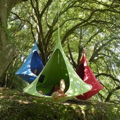 Cacoon Double Hanging Nest Chair Green for $500 #Hammocks #CozyDays