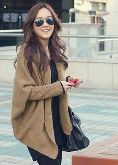 High Street Unclosed Khaki Batwing Sleeve Cardigan: Cozy