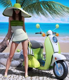 Top Collection: Large Hats for summer Scooter Girl, Vespa Girl, Scooter Motorcycle, Motorbike Girl, Motorcycle Girls, Vespa Lambretta, Vespa Scooters, Chicks On Bikes, Pin Up