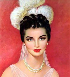 DesertRose,,,, beautiful feathered headdress loveliness care of artist Lou Shabner. Pin Up Vintage, Vintage Beauty, Vintage Images, Vintage Posters, Vintage Ladies, Vintage Artwork, Pinup Art, Estilo Pin Up, Beauty In Art