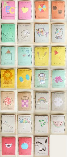 I want to make an alphabet book like this before our 2-week road trip! Then will be used while traveling for letter recognition practice.    copyright-katherine-marie-052812