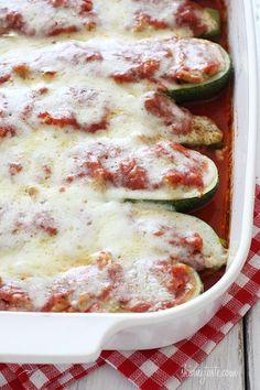 Sausage Stuffed Zucchini Boats   Skinnytaste