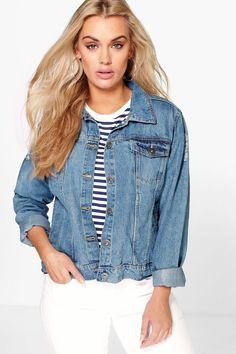 Plus Danika Oversized Distressed Denim Jacket at boohoo.com
