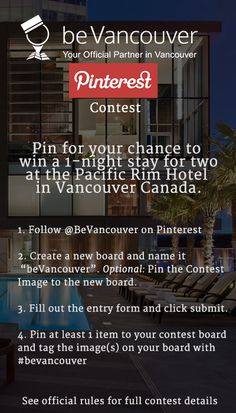 Pin for your chance to win a stay for two at the Pacific Rim Hotel in Vancouver Hotels, Downtown Vancouver, Fairmont Pacific Rim, Thing 1, 1st Night, Pick Me Up, Stay The Night, The Good Place, Adventure