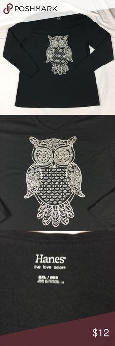 Hanes shirt black silver glitter owl long sleeve Hanes Live Love Color shirt black silver glitter owl long sleeve t-shirt Women's Size:  2XL Approx measurement: armpit to armpit - 23 inches; sleeve - 24 inches; length - 27 inches Fabric content: 60% cotton, 28% polyester, 12% rayon Machine washable Gently used - see pictures Hanes Tops Tees - Long Sleeve