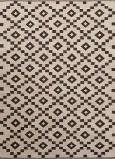 JAIPUR Rugs : Scandinavia Nirdic - Undyed 100% Wool with Flat weave construction - Antique White and Deep Charcoal - Made in India