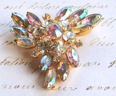 "Vintage Juliana Pin, Aurora Borealis Rhinestone Brooch, Juliana Brooch, Vintage Brooch, Vintage Jewelry, 2.25"" Wedding Brooch"
