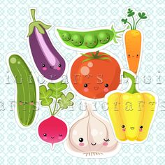 Cute Kawaii Cut Out Vegetables - Digital and Printable Clipart. $4.90, via Etsy.