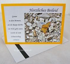 """Karte Beileid Trauer """"Schmetterling"""" von PHOTOGLÜCK auf DaWanda.com"""