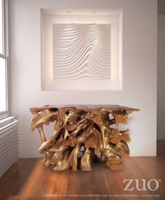 Zuo Dino Console Table Natural & Antique Gold.